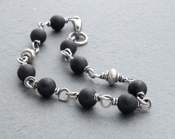 Black Gemstone Bracelet, Black Onyx Bracelet, Matte Black Bracelet, Layering Bracelet, Wire Wrap Bracelet, Sterling Silver, #4694