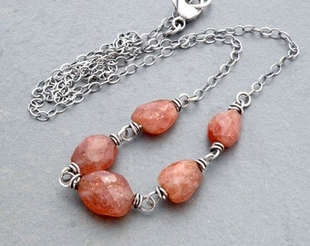 Sunstone Necklace, Sterling Silver, Sunstone Jewelry, Sparkly Orange Stone Necklace, Natural Sunstone Gemstone, Wire Wrapped,  #4644