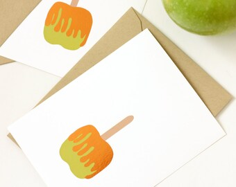 Caramel Apple - Apple Greeting Card - Bronze Foil -  Single Card - Halloween - Note Card - Stationery - Love Note
