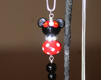 Disney Inspired Magic Mickey Minnie Mouse Style SRA Lampwork Rhinestones DeSIGNeR Necklace Sterling Silver
