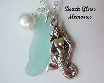 Mermaid Sea Glass Necklace - Aqua Beach Glass Necklace Seaglass Jewelry
