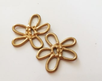 ONE Link Flower Artisan Handcrafted Matte Gold Plated over Sterling silver