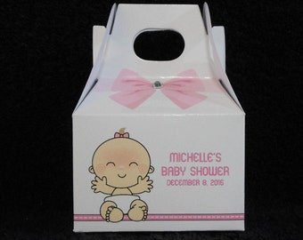 Baby Shower Favor Boxes - Baby Girl Favor Boxes - Personalized Gift Boxes  - Gable Box - Baby Girl Smiling - Favor Box - Set of 20