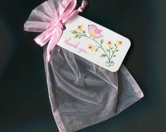 Baby Shower Favor Bags - Baby Girl Favor Bags - Gift Bags - Organza Bags - Thank You Tags - Pink Bird - 4 X 6 Organza Bags