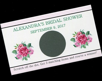 Personalized Bridal Shower Scratch Off Cards - Bridal Shower Game - Pink Roses