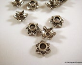 25 Star Bead Caps Antique Silver 7x3mm - 25 pc - 6019-11