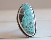 Turquoise ring. Sterling silver ring with Turquoise. Turquoise, blue Turquoise, boho ring, natural Turquoise ring, statement ring.