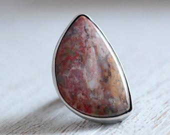 SALE - Mozarkite ring. Sterling silver ring with natural Mozarkite. Mozarkite, Missouri, brown gemstone, Statement ring, flower pattern band