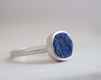 Gretel ring. Sterling silver ring with natural Lapis Lazuli. Lapis Lazuli ring, Lapis ring, Lapis band, rough Lapis, Statement ring.