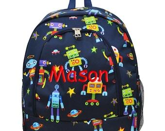 Boys Personalized Backpack Robots Monogrammed School Children Kids