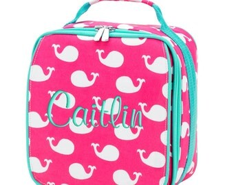 Personalized Lunch Bag Whales Monogrammed School Snack Box