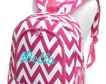 Girls Personalized Backpack Hot Pink Chevron School Monogrammed