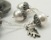 Acorn Jewelry, Oak Leaf Necklace Acorn Necklace and Earrings Set with White Swarovski Pearls and Oak Leaf Charm, Sterling Silver Chain