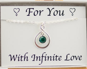 Anniversary Gift for Wife for Her, Wife Necklace, May Birthstone Necklace, May Birthday Gift for Wife Infinity Necklace, Emerald Necklace