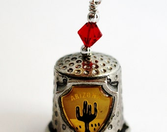 Vintage Pewter Thimble, Christmas Ornament, Arizona Pewter Thimble, Saguaro Cactus, Desert Design by Hendywood