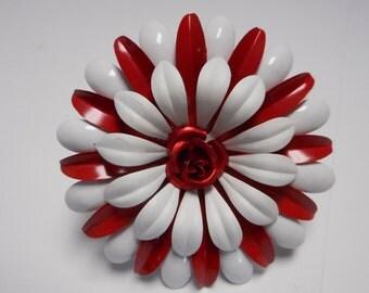 vintage enamel FLOWER BROOCH very coooooooooool red and white with a red flower  center  WOW grooooovy