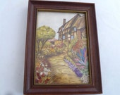 "Embroidered cottage in wood frame, Cottage fabric print with touches of embroidery, 6 1/2"" x 8 1/2"" frame, vintage English cottage print"