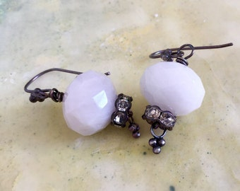 Vintage Drop Earrings | Faceted Peruvian Pink Opal & Rhinestone Beads | Bridal Jewelry