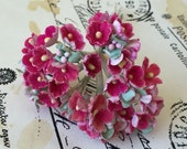 Vintage Millinery Cluster of Pink Cotton Little Prairie Flowers