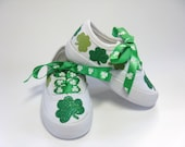 Shamrock Shoes, St. Patrick's Day Outfit, Saint Patrick's Day Shoes, Shamrock Outfit, Irish Clovers, Baby and Toddler, Hand Painted