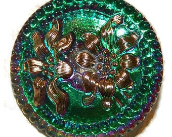 Czech Glass Button; 27mm Emerald with Two Gold Flowers