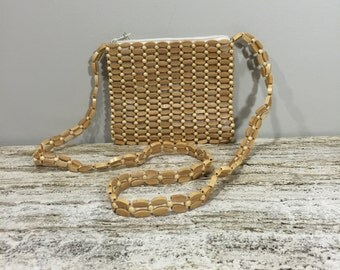 Wood Bead Shoulder Bag, Beaded Hand Bag, Blonde Bead Shoulder Bag, Summer Shoulder Purse