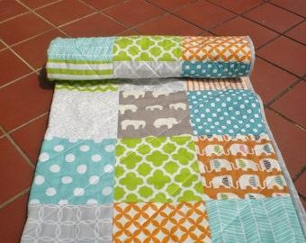 Modern Baby quilt,grey,burnt orange,teal,lime,baby boy quilt,woodland,rustic,organic,baby girl bedding,toddler,elephant,chevron,El Safari
