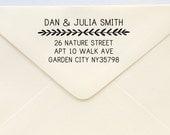 Custom Address Stamp - Return Address Stamp - Thin Vines Border