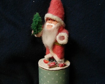 Cotton Santa Claus Figure Trinket Box