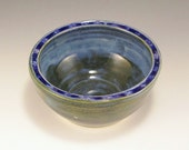 Pottery Bowl - Split Rim with Melted Glass - Blue
