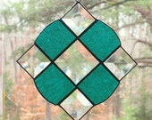 Stained Glass Suncatcher - Victorian in Teal Glass with Bevels