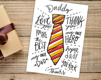 Printable hand drawn dad tie card Instant Download