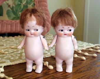 ONE Chubby German Miniature Jointed Bisque Doll with Wig