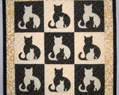PDF Pattern SIDEKICK Cat Applique Quilt Pattern from Quilts by Elena Instructions for 5 quilt sizes included