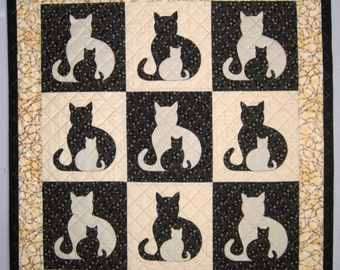 SIDEKICK Cat Applique Quilt Pattern from Quilts by Elena Instructions for 5 quilt sizes included