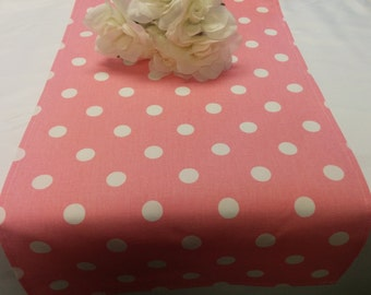 PINK POLKA DOT Table Runner,  Polka Dot White on Dark Pink Rose,  Wedding Bridal Home Decor Chic  Other colors available