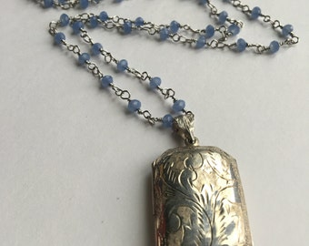 Silver Locket Necklace with Blue Beads