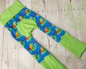 Maxaloones, Rainbow Chameleon cloth diaper pants, babywearing pants grow with me pants
