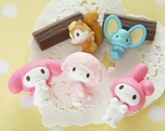 SALE 5 pc My Melody and Friends 3D Cabochon (Completed Set ) AZ284 (((LAST/ no restock)))