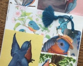 Bluebirds of Happiness Vintage Nature Collage, Scrapbook and Planner Kit Number 2100