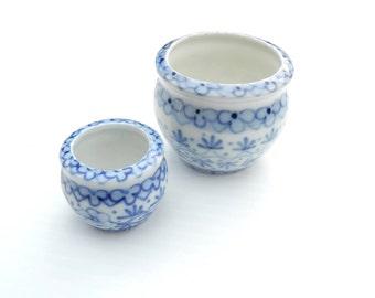 Miniature Chinese Porcelain Pot Set, for Miniature Garden, Dollhouse Garden or Fairy Garden, Authentic, Hand painted, 2 Sizes