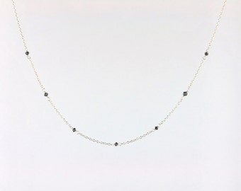 Faceted Black Diamond Bead Station Necklace in Silver