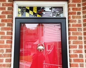 "Stained Glass Transom Window - ""Maryland Theme"" (TW-72)"