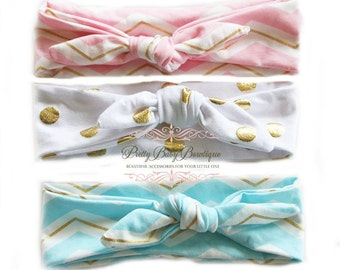 SALE Baby Headwrap Bow Girl - Set of Three Baby Knot Headband - Toddler Headwrap - Baby Top Knot Head Wrap - Turban Headband - Fabric