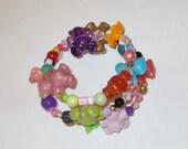 Girls Bracelet,Teddy Bear Bracelet,Stretch Bracelet,Girls Birthday Gift,Charm Bracelet,#118