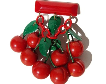 Vintage Bakelite Cherry Brooch Art Deco Red Cherries Chatelaine Pin