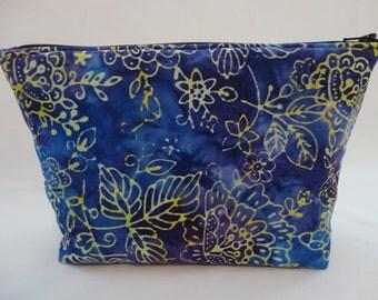 Makeup Bag , Zipper Pouch - Blue & Purple Batik