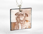 Pet Portrait Custom Necklace Personalized Dog Enamel Square