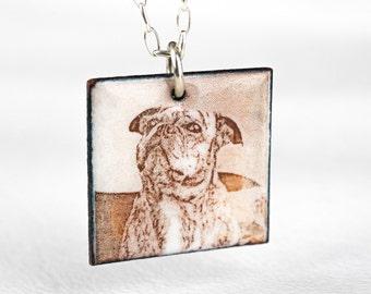 Pet Portrait Custom Necklace Personalized Dog Enamel Square