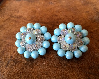 Vintage Baby Blue and Clear Beaded Clip On Earrings Wedding Mother of the Bride
